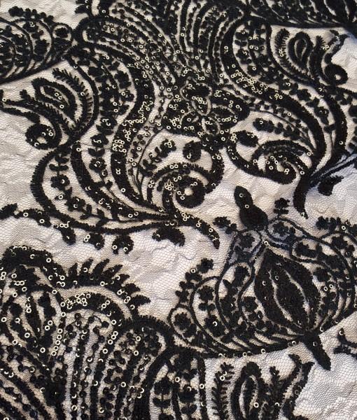 Sequin Damask Black