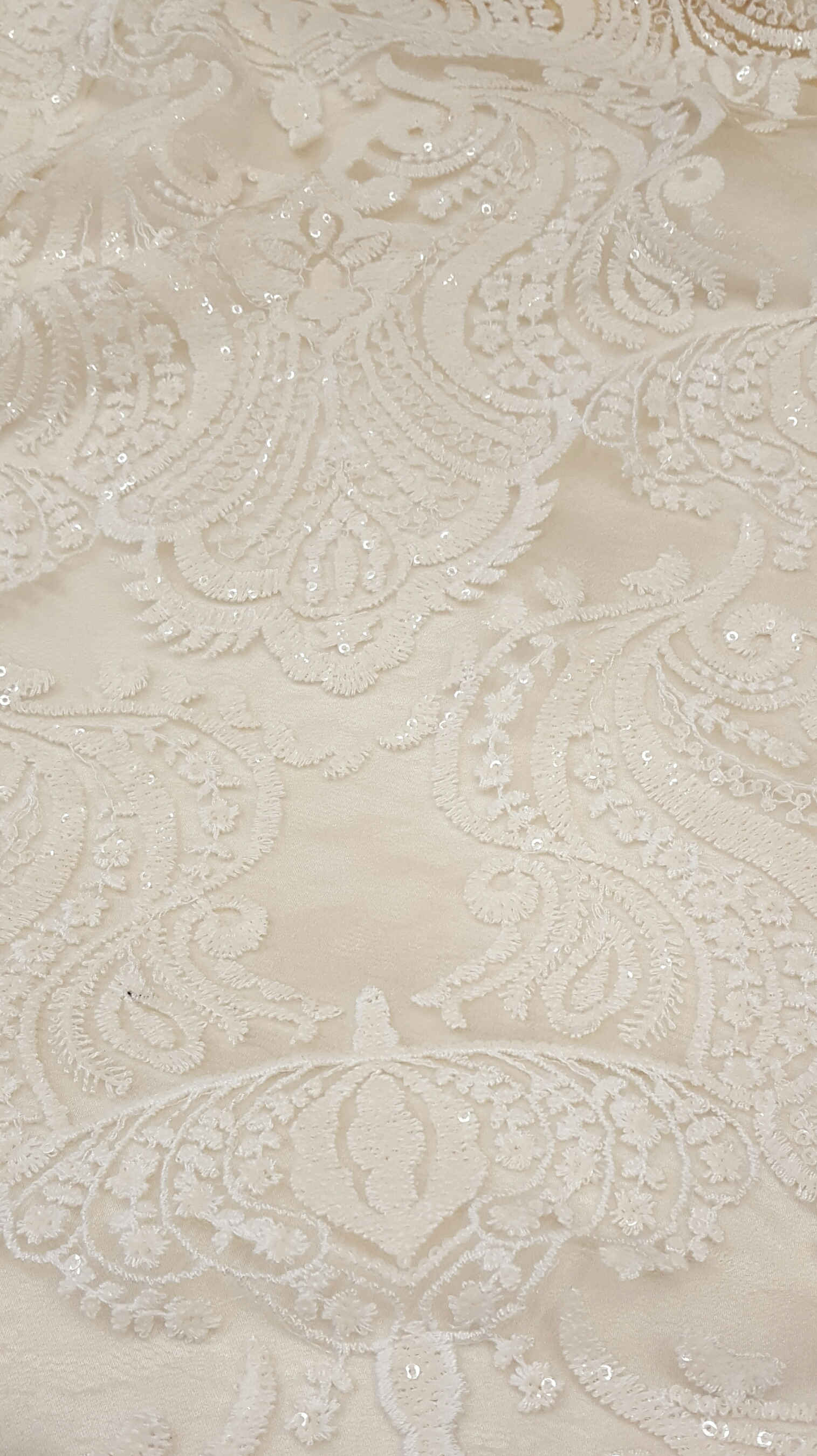 Sequin Damask Ivory The Finishing Touch