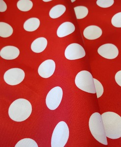 Red & White Satin Polka Dots