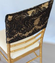 Sequin Damask Black/Gold Chair Cap