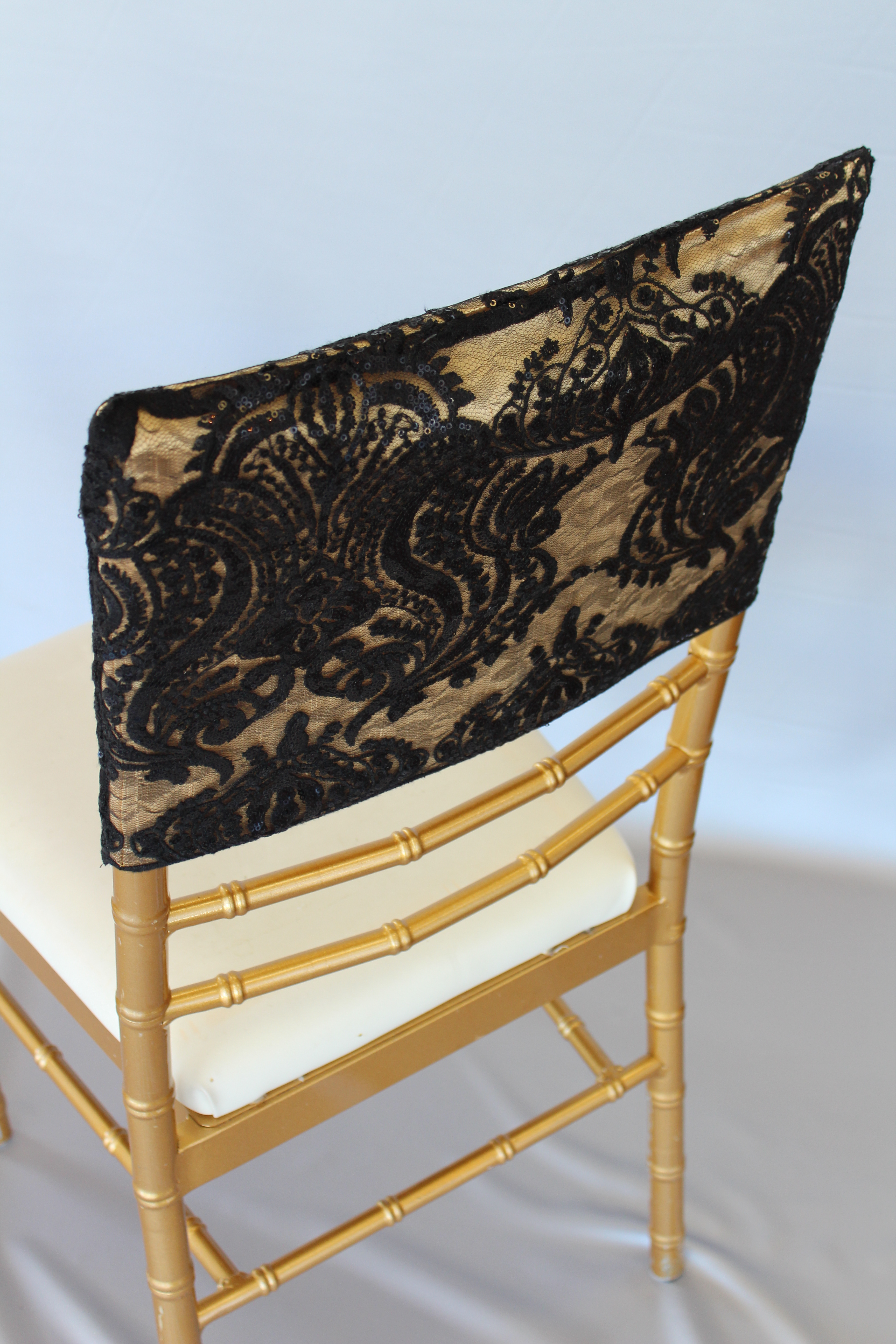 Sequin Damask Black Gold Chair Cap The Finishing Touch