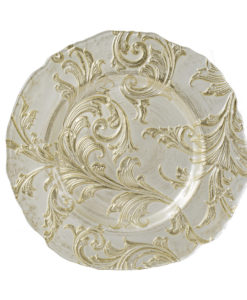 Gold Flora Glass Charger Plate