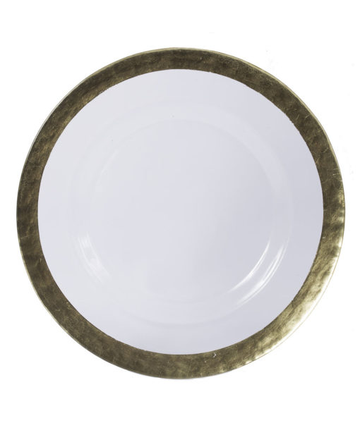 Glass Hammered Gold Rim Charger Plate