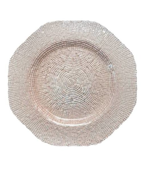 Glass Blush Hexagon Charger Plate