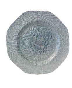 Glass Silver Hexagon Charger Plate