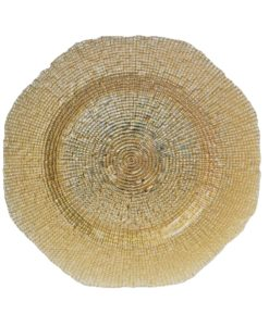 Glass Gold Hexagon Charger Plate